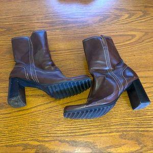 Brown Predictions Zip Up Booties with Chunky Heel